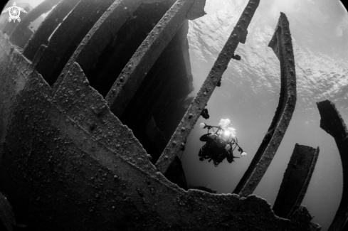 A wreck diving photoshoot